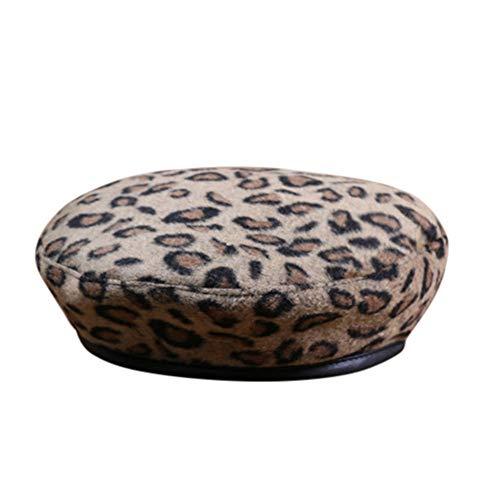 ZOMUSAR Fashion Women Autumn Winter Beanie Hat Wool Leopard Dot Print Berets Hat (B)