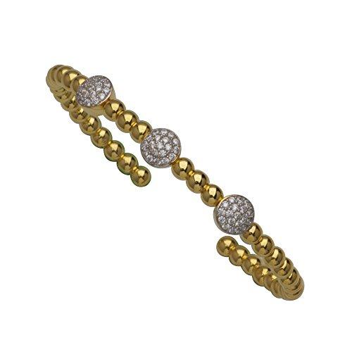 Bangle Bracelet, Fancy Bead Cuff Br W/3 Rnd Cz Stations by DiamondJewelryNY