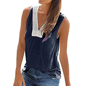 Canifon Women's T-Shirts Sleeveless V-Neck Casual Blouses Solid Color Beach Lace Simple Cotton Blend Summer Retro Tunic…