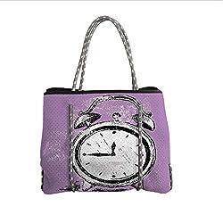 iPrint Neoprene Multipurpose Beach Bag Tote Bags,Doodle,Retro Alarm Clock Figure with Grunge Effects Classic Vintage Sleep Graphic,Purple White Black,Women Casual Handbag Tote Bags