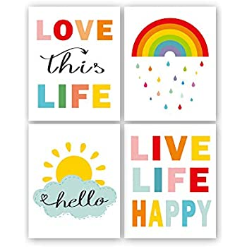 Colorful Rainbow and Sunshine Quotes Art Print,Set of 4(8