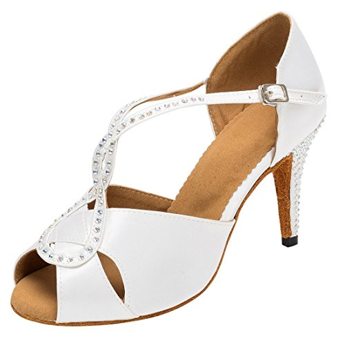 Tda Womens Fashion T-strap Cristalli Raso Salsa Tango Sala Da Ballo Latino Moderno Scarpe Da Ballo Danza Bianca