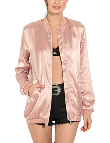 Just Quella Womens Classic Zip Up Satin Midi Bomber Jacket 8619 (L, Pink) 41z8n 6jzTL