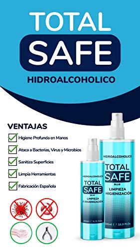 Total Safe 500ml Spray | Ideal para una higiene profunda de manos - Hidroalcoholico Liquido envase con Aerosol Blue 3