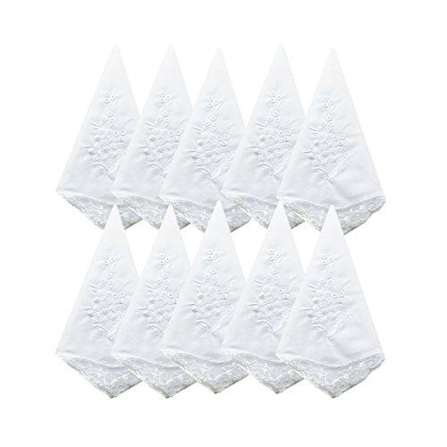 Bulk Wedding White Floral Embroidery Premium 60s Cotton Handkerchiefs