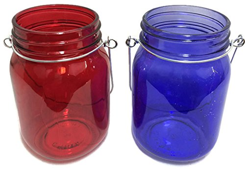 Patriotic Red and Blue Glass Jar Candle Holders (Set of 2)