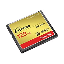 SanDisk SDCFXS-128G-A46 Extreme Memory Card 128 GB CompactFlash, Black 6 Read speed up to 120MB/s Write speed up to 85MB/s (32GB-128GB only) Video Performance Guarantee (VPG-20) for Full HD video recording