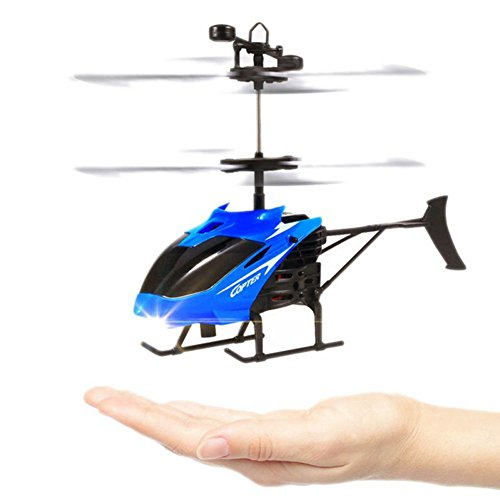 (Mini RC Helicopter Electric Infrared Sensor Toys Radio Remote Control Micro Hand Induction Flying Aircraft Toys Gift for Kids Blue)