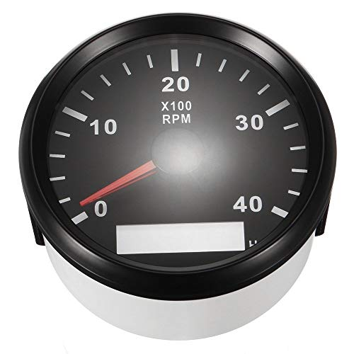 ELING Waterproof Tachometer REV Counter RPM Gauge with Hour Meter 0-4000RPM 85mm 9-32V with Backlight