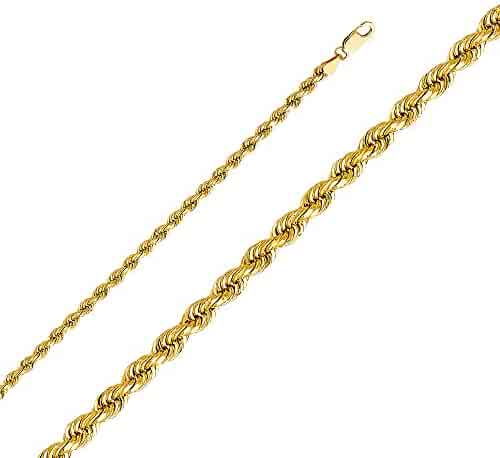 Ioka - 14K Yellow Solid Gold 4mm Rope Diamond Cut Chain Necklace with Lobster Clasp