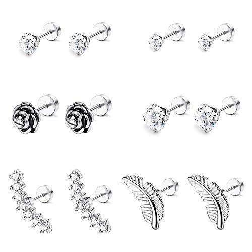 LOYALLOOK 6-8 Pairs 16G Stainless Steel Flower Feather Cartilage Cubic Zirconia Inlaid Helix Hoop Stud Earrings Tragus Piercing Jewelry for Men Women (Steel By Design Jewelry)