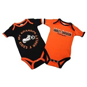 Harley-Davidson Boys Baby Twin Pack Creeper My Grandpa Rides a Harley Orange 9/12M