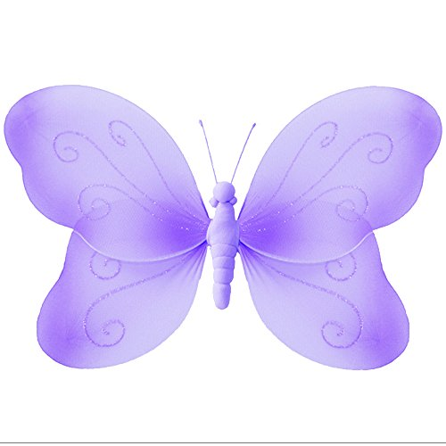 "Hanging Butterfly Large 13"" Purple Lavender Swirls Nylon Mesh Butterflies Decorations Decorate Baby Nursery Bedroom Girls Room Ceiling Wall Decor Wedding Birthday Party Baby Shower Bathroom 3D Art DIY"