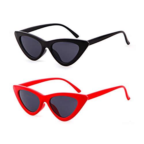 de sol gato ADEWU gafas para Cobain mujeres Gafas amp; ojo niñas de 2pcs protección Negro Rojo de estilo sol Kurt retro de de Gafas vintage 55wraxqYX