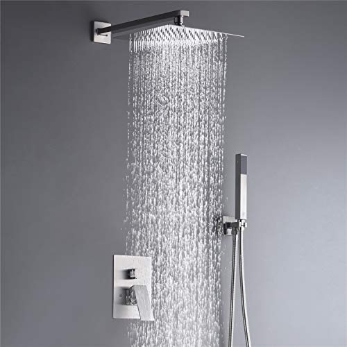 (Rain Shower System Complete Shower Faucet Set 10 Inch Wall Mounted Rainfall Shower Head with Handheld Rough-in Valve Body and Trim kit)