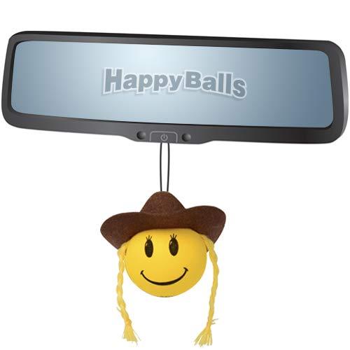 HappyBalls Happy Smiley Cowgirl Car Antenna Topper//Antenna Ball//Mirror Dangler//Desktop Spring Stand Bobble