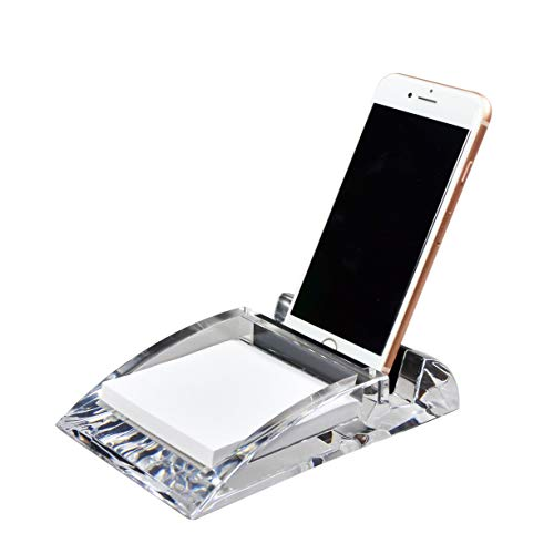 - COM.TOP - Acrylic Desk Supplies Organizer (Including one memo Note) for 3 x 3 Memo pad and iPhone Stand| Office Supplies, Stationery Organizer, Desk Accessories - Clear