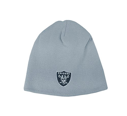 Reebok Youth Hat NFL Oakland Raiders Basic Logo Uncuffed Gray Knit Basic Logo Knit Cap