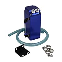 ALLOYWORKS Square Aluminum Engine Oil Catch Tank Breather Can and Hose 1L (Blue)