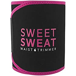 Sports Research Sweet Sweat Premium Waist Trimmer (Pink logo) for Men & Women. Includes Free Sample of Sweet Sweat Gel! Size: Small