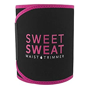 Sweet Sweat Premium Waist Trimmer (Pink logo) for Men & Women. Includes Free Sample of Sweet Sweat Workout Enhancer! Size: Small