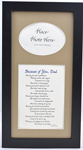 Because of You Dad Picture Frame, Choose Your Frame and Mat Color, Special Gift for a Father, 7x14 Black Frame & Burlap Mat (Older Dads Gifts For)