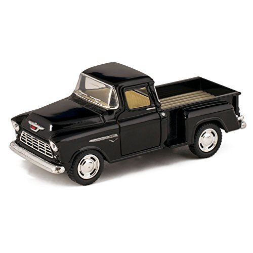 Black 1955 Chevy Stepside Pick-Up Die Cast Collectible Toy Truck by Kinsmart ()