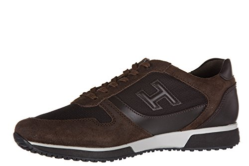 Hogan chaussures baskets sneakers homme en cuir h198 slash h 3d marron