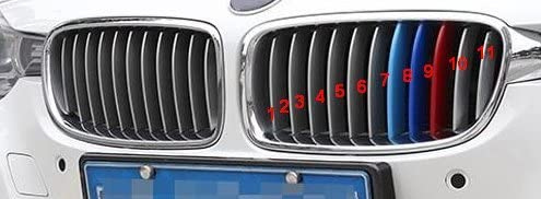 M Power Bonnet Hood Kidney Grille Stripes Grill Clip In Inserts Stripe Cover Decor For BMW 3 Series 2013-2017 F35 11 Grill