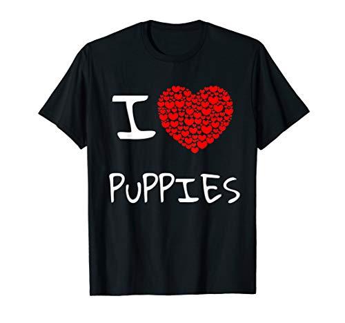 Cute I love puppies t shirt I cool gift dog mom girl women ()