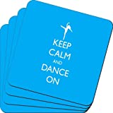 Rikki Knight Keep Calm and Dance on Sky Blue Color Design Soft Square Beer Coasters (Set of 2), Multicolor