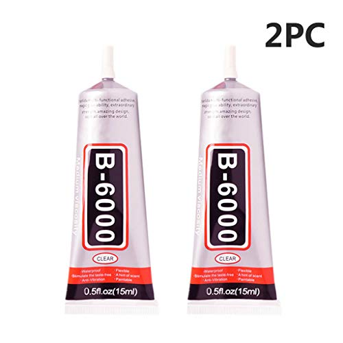 youeneom B6000 Transparent Glue Resin Glue epoxy Resin for Glass Touch Screen Cell Phone Jewelery Crafts Repair Crystal Glass vase DIY Rhinestone Glue 2 pcs (2X15ml)