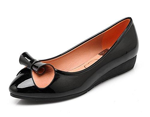 Easemax Sweat Femme Bout Rond Coupe Basse Slip Chunky Bas Talon Pumps Chaussures Avec Noeuds Noir