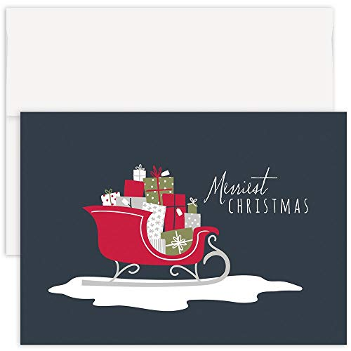 JAM PAPER Christmas Cards & Matching Envelopes Set - Present Filled Sleigh - 12/Pack