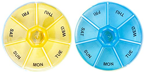 Set of 2 One a Day - 7 Day Round Plastic Pill - Round Pill