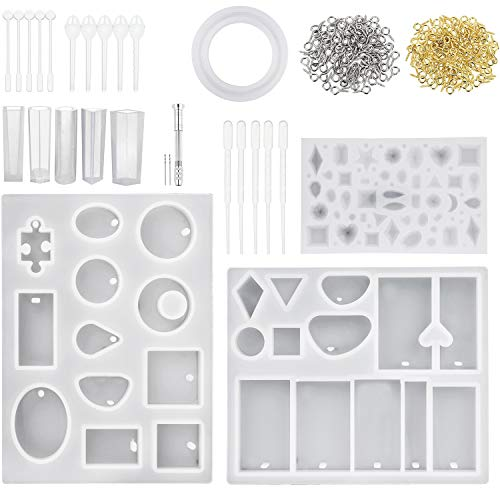 TOODOO Resin Casting Molds and Tools Set, Include Assorted Styles Silicone Molds, Stirrers, Droppers, Spoons, Hand Twist Drill and Screw Eye Pins for Pendant Jewelry Making, 125 Pieces Totally -
