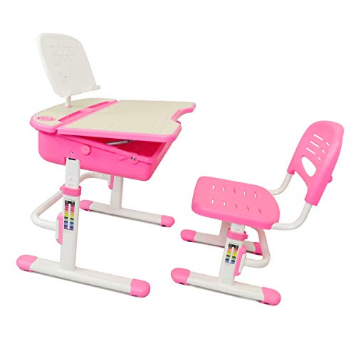 The House of Trade Height Adjustable Kids Desk and Chair Set   Student Desk for Kids Homework   Girls Desks for Ages 3 to 10 ()