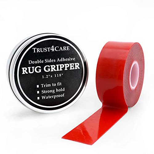 Rug Gripper Holder, 10 ft Double Sided Adhesive Carpet Tape to Keep The Area Rugs Pad in Place on Hard Floors for Non Slip by TRUST4CARE