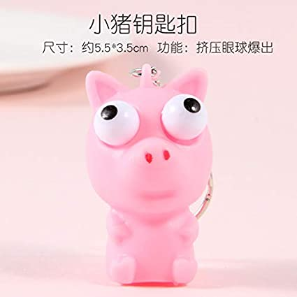 BEESCLOVER Funny Squeezing Soft Cute Decompression Childrens Toy Pendant Cartoon Eye-catching Keychain - Piglet - for Child Gift