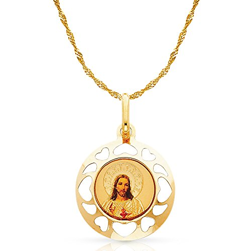 14K Yellow Gold Jesus Heart Enamel Picture Charm Pendant with 0.9mm Singapore Chain Necklace - 22