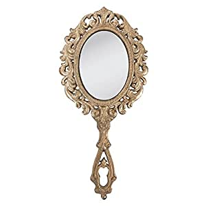 Clayre & Eef 62S009 Hair Stylists Hand Mirror Large Vintage Old World Shabby Chic Style by Clayre & Eef