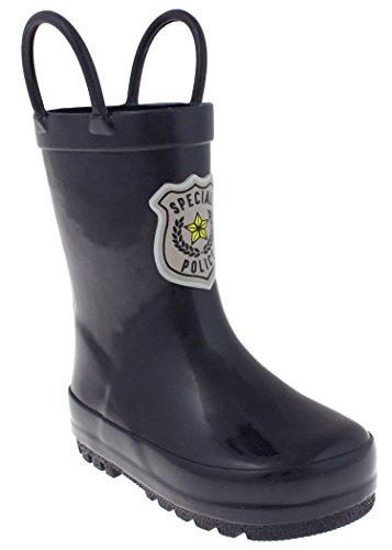 Capelli New York Toddler Boys Policeman Badge Applique Rubber Rain Boot Navy Combo - Kids Rubber Boots Fireman