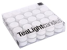 Design Ideas Clear Cup Tea Lights, White, Box of 50
