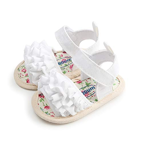 Sakuracan Infant Baby Girls Sandals Cute Summer Shoes Soft Sole Flat First Walker Shoes (Girl Cute Infant Shoes)