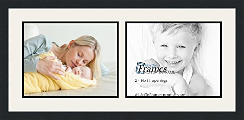 ArtToFrames Double-Multimat-245-61/89-FRBW26079 Collage Photo Frame Double Mat with 2-11x14 Openings and Satin Black Frame, Super White, 2-11x14