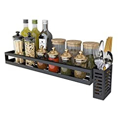 Kitchen Hanging Spice Rack Wall Mount,Wall Mount Spice Rack Organizer For Cabinet Kitchen, Hanging Seasoning Rack With Utensil… spice racks