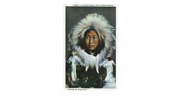 Alaska, de vista del Obleka, un nativo de esquimal niña disfraz de ...