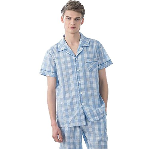 Colygamala Men's Summer Cotton 2 Pieces Short Sleeves Plaids Lounge Pajama Set (Sooners Pajama Lounge Pants)
