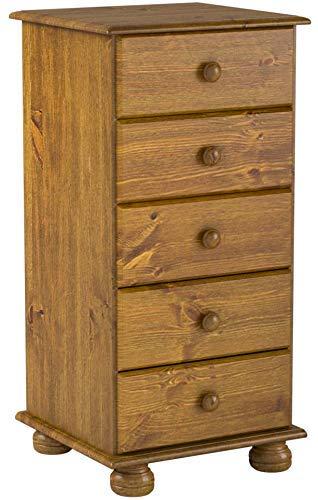 Commode /étroite 5 tiroirs et pieds arrondis Pin