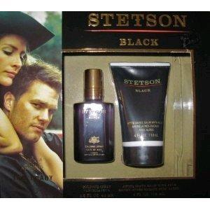 STETSON BLACK COLOGNE SPRAY 1.5 Oz & AFTER SHAVE BALM 4 Oz